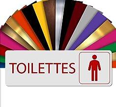 WC Heren | WC deurbordje | Naamplaatje reliëf PVC zelfklevend 5x15 cm | 19 kleuren Blanc Écriture Rouge