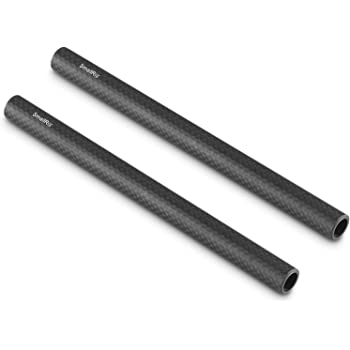 SMALLRIG 15mm Carbon Fiber Rod for 15mm Rod Support System (Non-Thread), 8 inches Long, Pack of 2-870
