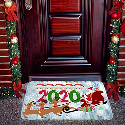 Christmas Decorative Door Mats, 2020 Annual Events Christmas Non-Skid Floor Mats, Outdoor Indoor Welcome Mat, Face_Masks Quarantine Christmas Doormat, Xmas Personalized Keepsake Decorations (White)