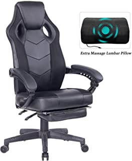 HEALGEN Gaming Chair with Footrest Racing Computer PC Chair Ergonomic High Back Swivel Executive Office Chair Mesh Leather Reclining Desk Chair (RC906 Black)