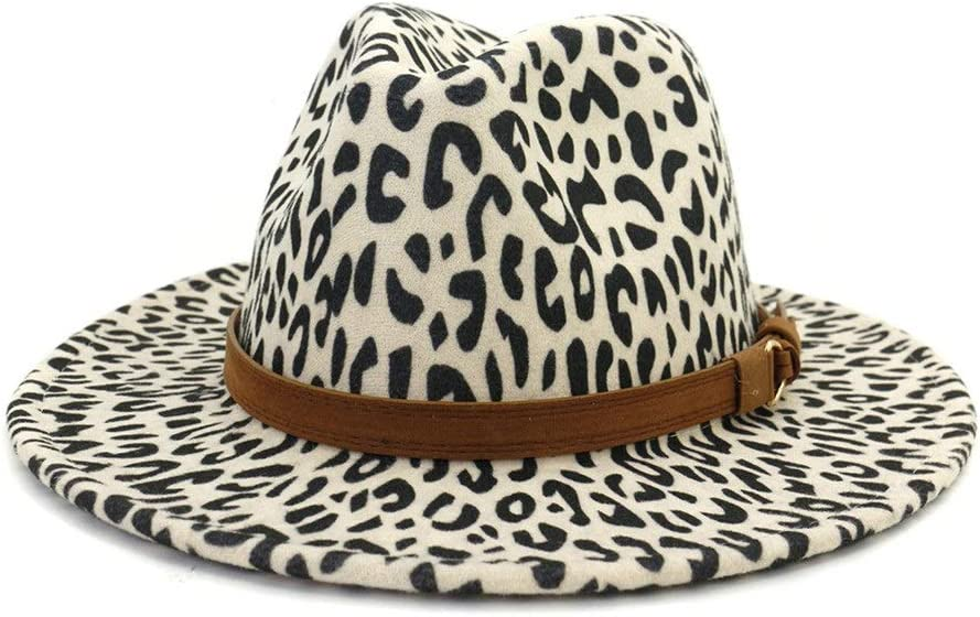 no-branded Women Men Wide Brim Leopard Print Fedora Hat Women Panama Retro Cotton Jazz Hat with Belt Buckle Hat ZRZZUS (Color : Cream, Size : 59-60cm)