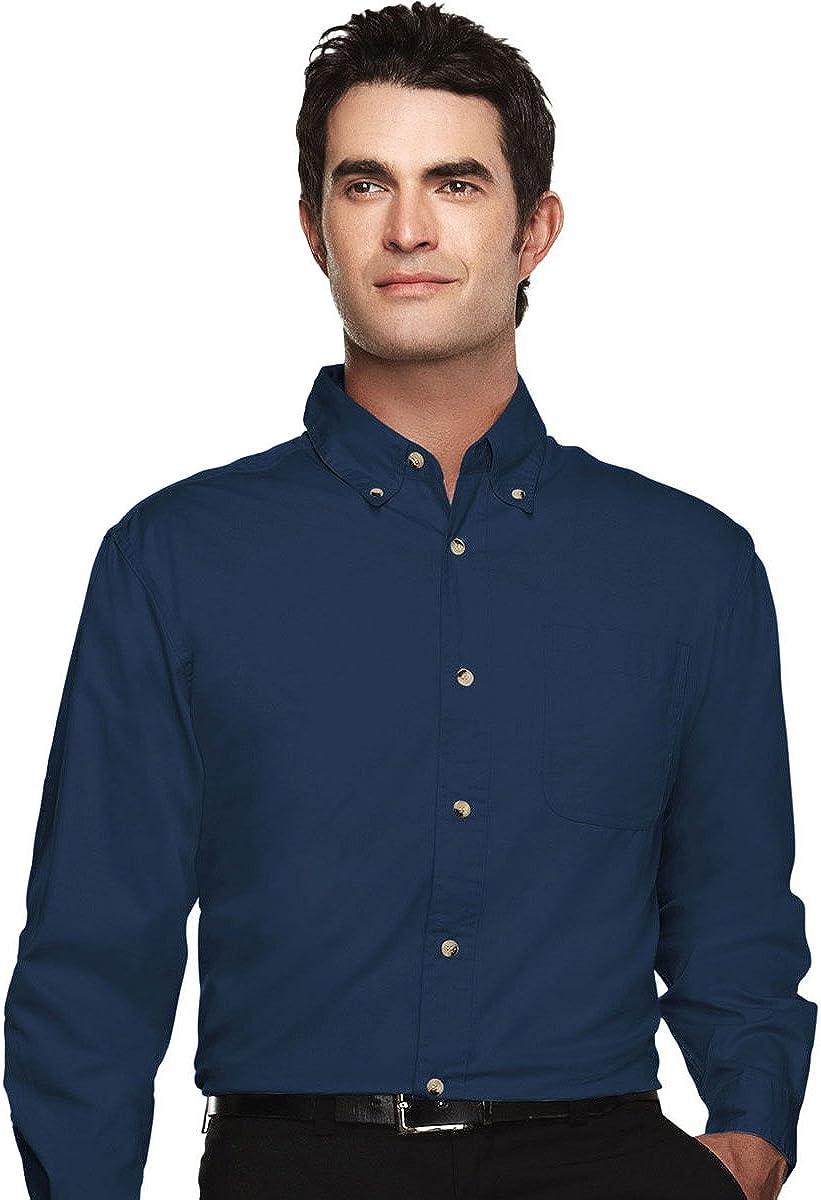 Tri-mountain Mens 60/40 easy care long sleeve twill shirt. 720 - NAVY_5XLT