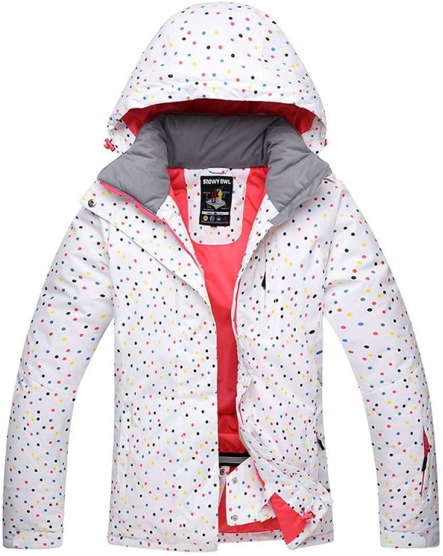 Zjsjacket ski Suit White Dot Snow Suit Women Snowboard Jackets Winter Waterproof Sport Thicken Warm Costume Outdoor Skiing Suit Clothing Snow Cost