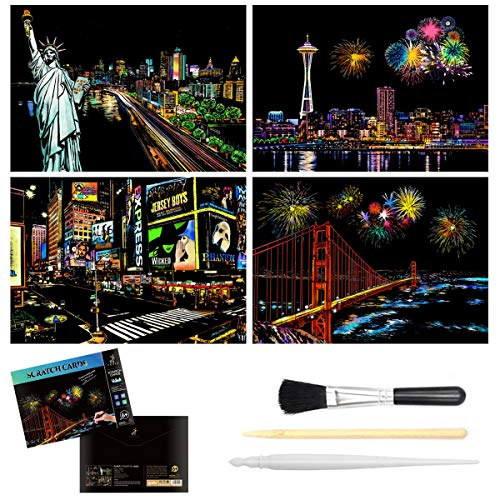 Scratch & Sketch Art Paper (A4) for Kids & Adults, Rainbow Painting Scratchboard, Art&Craft, Engraving Art Set: 4 Sheets Scratch Cards & Scratch Drawing Pen, Clean Brush (American scenery)