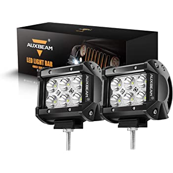 Auxbeam 2 Pcs LED Light Bars 4 inch LED Pods 18W Driving Light Spot Beam for Jeep, ATV, UTV, Truck, Offroad Vehicle (Without Wiring Harness)