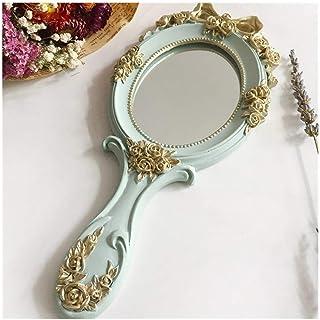 AINIYF Hand Mirror Handheld Makeup Mirror Decorative Vintage Cosmetic Mirror Hand Held Travel Mirrors(26.5x2x12cm) (Color : Blue)
