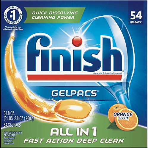 Finish All In 1 Gelpacs Dishwasher Detergent, Orange  54 ea