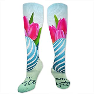 Nifdhkw Happy Easter Eggs and Tulip Flowers Polyester Cotton Over Knee Leg High Socks Novelty Unisex Thigh Stockings Cosplay Boot Long Tube Socks for Sports Gym Yoga Hiking Cycling Running Travel