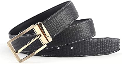 Leather Belt With Single Prong Rotated Buckle - Adjustable Dress Belt For Men Fashion (Size : S)