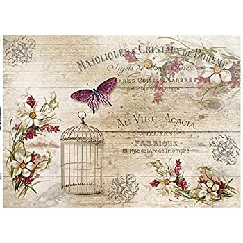 Reispapier-Motiv Strohseide-Decoupage-Vintage-Shabby-Vögel-Schmetterling-R0977