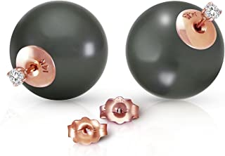 5672 14k Solid Gold Stud with 0.20 Carat Natural Diamonds & Black Shell Pearl Earrings