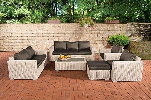 CLP Luxus ratán jardín Juego de sofá Madeira XL, Blanco, 5mm de ratán con Marco de Aluminio (Asientos 7Personas), Brown (Mottled), Cushion: Anthracite