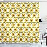 ABAKUHAUS Herbst Duschvorhang, Sonnenblumen Retro Land, mit 12 Ringe Set Wasserdicht Stielvoll Modern Farbfest & Schimmel Resistent, 175x180 cm, Gelb Weiß Grün