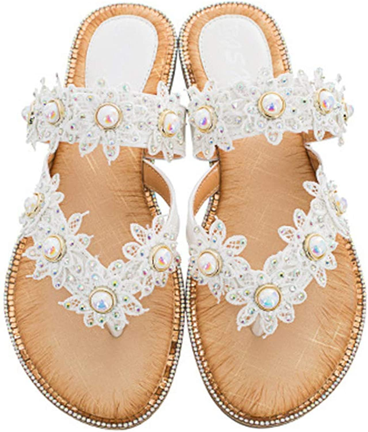 Mubeuo Women's Leather Floral Beaded Pearls Flip Flops Thong Sandals