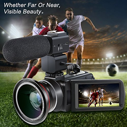 Video Camcorder,Besteker 1080P 30FPS Wifi Camcorders Full HD Portable Digital Video Camera with External Microphone and Wide Angle Lens