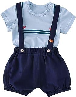 pureborn Baby Boy Short Sleeve Sailor Shirts+Suspender Pants Toddler Outfits Set