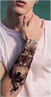 CQHUI Zwarte Woud Tattoo Sticker Voor Mannen Vrouwen Kinderen Tijger Wolf Death Skull Tijdelijke Tattoo Fake Henna Skeleto...