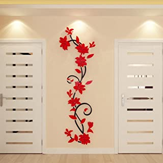 LuckES Flores Pegatinas decorativas para pared Engomadas Caseras De La DecoracióN De La DecoracióN Casera De La Mariposa diseño de flores y mariposas para decoración del hogar (Rojo)