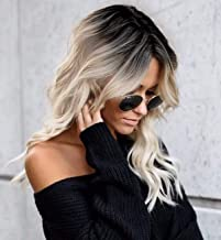 BLSWANER Ombre Blonde Bob Wavy Lace Front Wigs Dark Roots Shoulder Length Natural Wave Short Synthetic Hair Wigs for Women