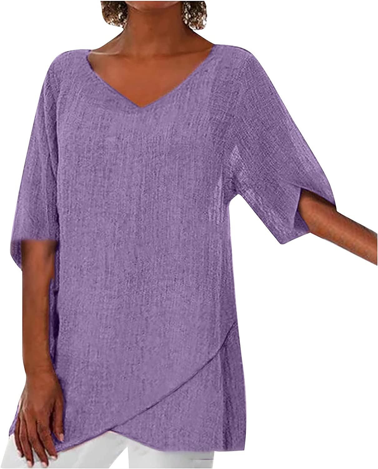3/4 Sleeve Shirts for Women Cotton Linen Tshirt Tops Casual Loose Fit Tunic Tees Stripe V Neck Comfy Soft Blouse
