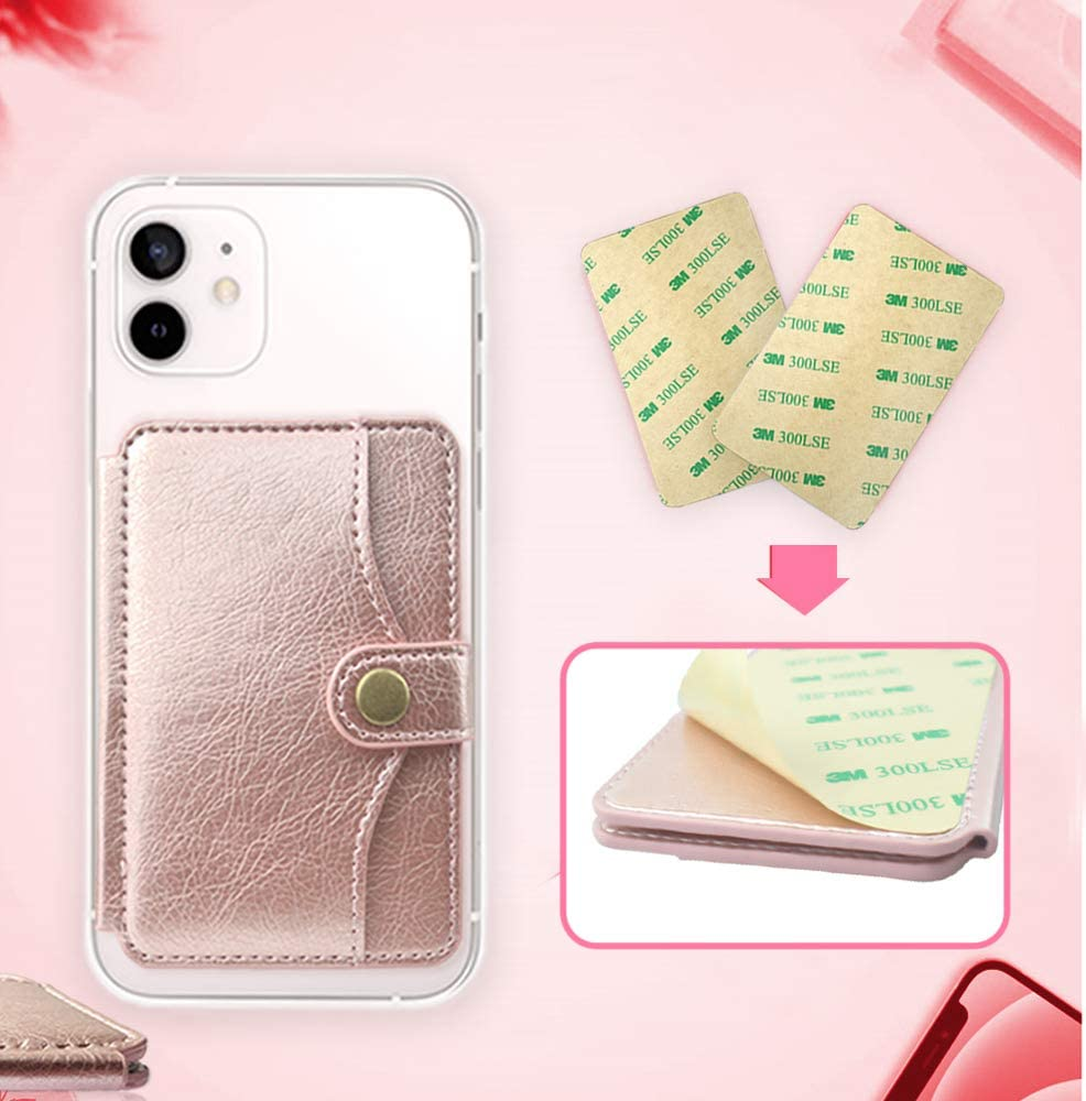 M-Plateau 2021 New Sticky Wallet for Back of Phone Slim 3M Adhesive Credit Card Holder for Cell Phone.for iPhone 12 & iPhone 12 Pro 6.1 Inches/one Plus 8T/Samsung Galaxy Most Smartphones (Gold Pink)