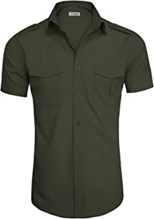 Men's Regular-Fit Short-Sleeve Casual Plain Button Down Dress Shirts
