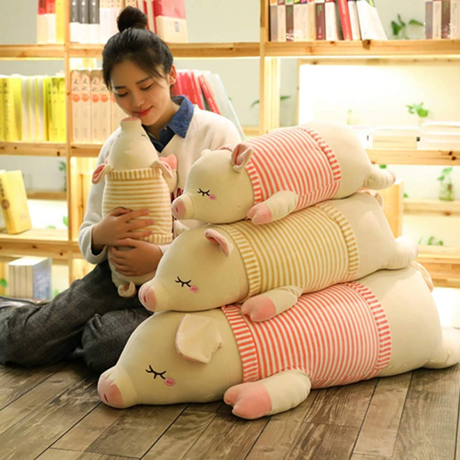 LAIBAERDAN Soft Striped Pigtail Plush Toy Pig Doll Doll Sleeping Pillow Pig Doll Birthday Gift