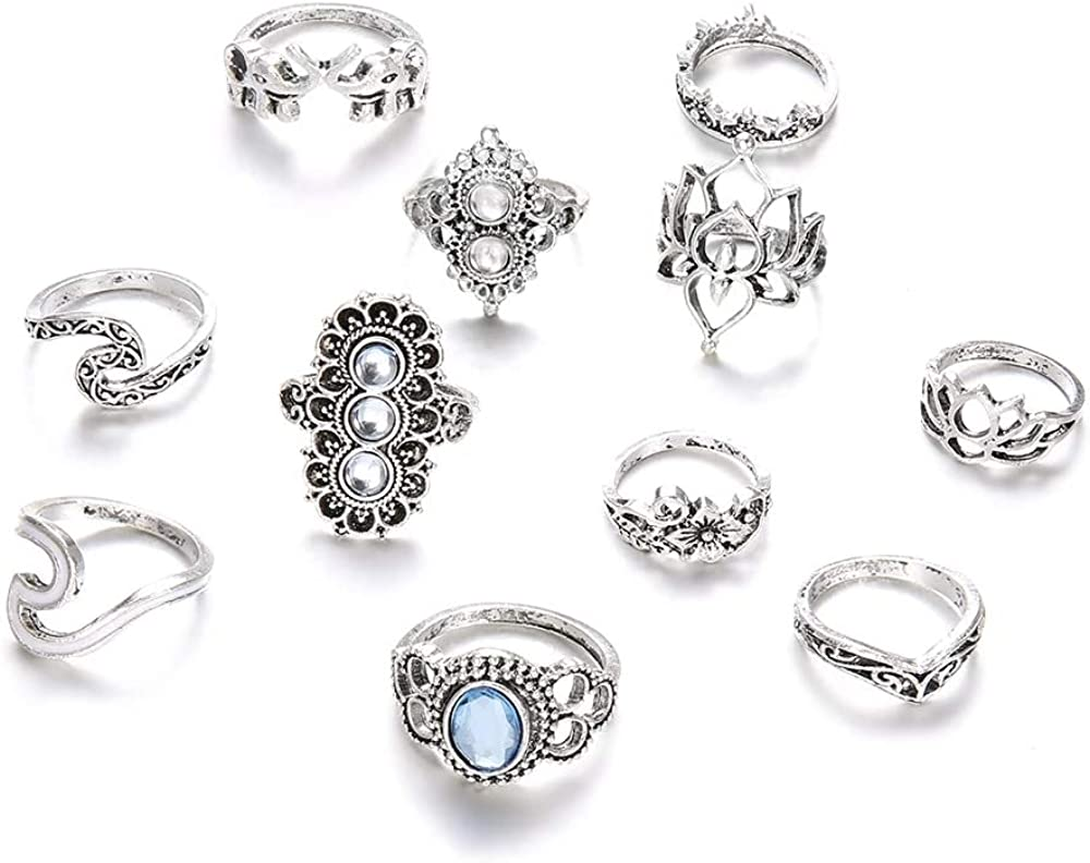 HABIT-The Complete Bohemian Beach Retro Elephant Hollow Lotus Wave Gems Rings Set (11 Pcs/Set!) Jewelry for Women and Girls Parties Daily Life Anniversary Date