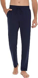 Pantalon de Pijama para Hombre Pantalones Largos de Pijama de Algodón Pantalon de Dormir de Algodón con Cintura Ajustable y Bolsillo Pantalón Largo de Ocio Suave Transpirable y Comodo