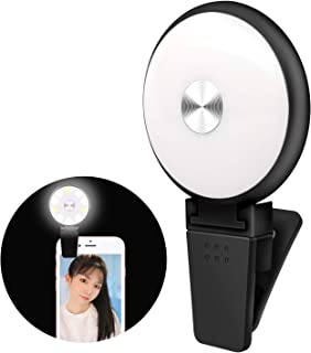 TOYOTO 自撮りライトクリップ式 LEDリングライト スマホライト 自撮り補助ライト美容化粧YouTube生放送ビデオカメラ撮影用 (ブラック)
