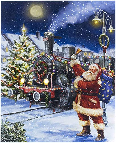 Oak Street Christmas Winter Scenes LED Art Canvas Light up Pictures (17'x14', Santa Claus Coming to Town OSW197519)