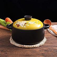 Flower Pattern Handmade Stockpot Clay Pot Earthen Pot Onion Soup Crocks Soup Pot for Slow Cooking,Round Ceramic Casserole ...
