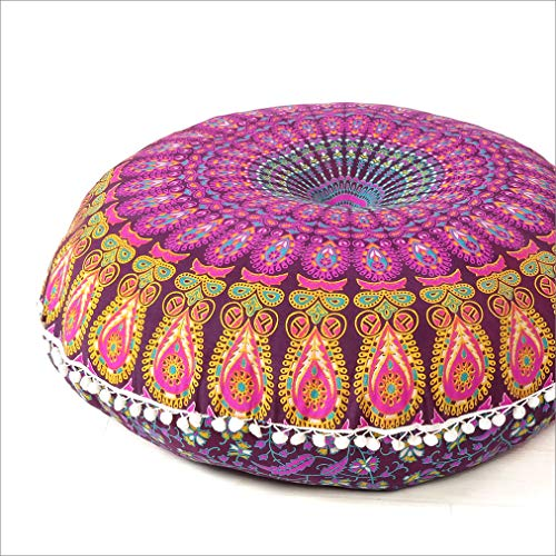 EYES OF INDIA - 32' Purple Yellow Orange Large Mandala Floor Pillow Cover Meditation Cushion Seating Throw Hippie Round Colorful Decorative Bohemian Accent Boho Chic dog bed Indian Pouf Ottoman Handmade COVER ONLY