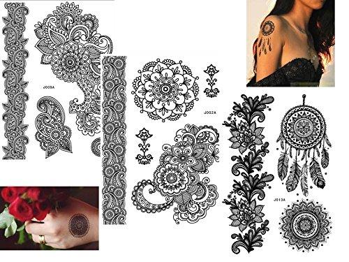 3 Bögen Henna TATTOO SCHWARZ Black B Fake Flash Tattoo Aufkleber Traumfänger und Henna Motive