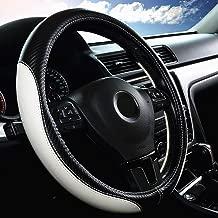 LABBYWAY Car Universal 15-inch Microfiber Steering Wheel Cover,Anti-Slip,Odorless,Four Seasons Universal (White)