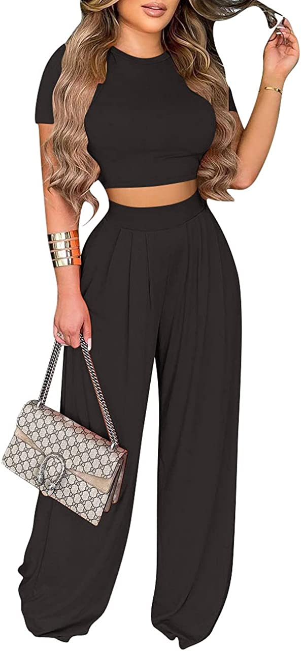 Women's Two Pieces Outfits Excellence Max 74% OFF Jumpsuits Wide Top Short Crop Sleeve