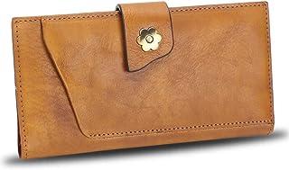 Genuine Leather Wallet for Women Soft Thin Purse Money Case Card Organizer Vintage Cowhide Money Clip (Brown)
