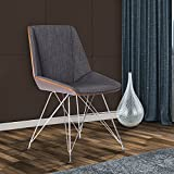 Armen Living Pandora Dining Chair in Charcoal Fabric and Walnut Wood Finish
