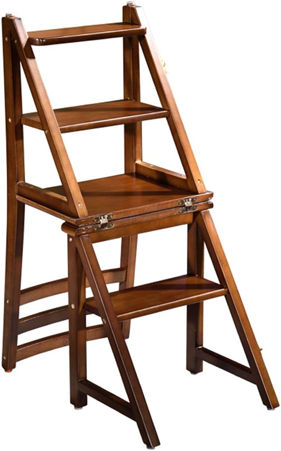 Wood Multi-Functional Congreenible Folding Home Kitchen Ladder Chair Four Step Stool Furniture (color   Walnut color)