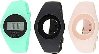 ساعة شارمنغ تشارلي رمادية لكلا الجنسين بسوار من السيلكون، 3 قطع - CH 101294116