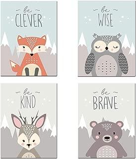 Pinji - Juego de 4 Cuadros en Lienzo Impresión de Animales de Dibujos Animados para Habitación de Bebé Sin Marco