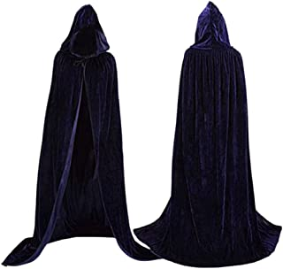 Velvet Cloak Cape Wizard Hooded Party Halloween Cosplay Costumes for Men Women 53""