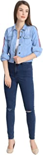 GSAMALL Women's Full Sleeve STYLISHT Collar Denim Jacket