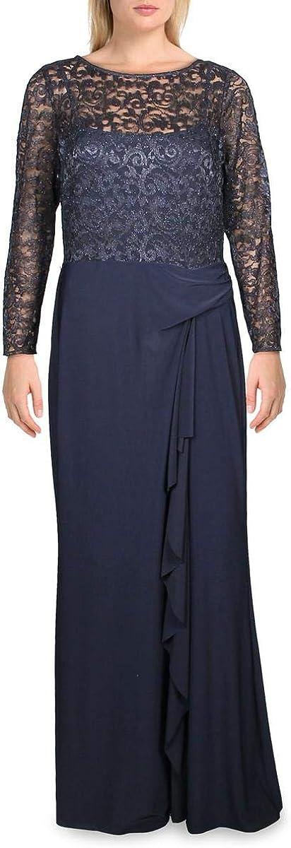 LAUREN RALPH LAUREN Womens Teige Metallic Gathered Evening Dress