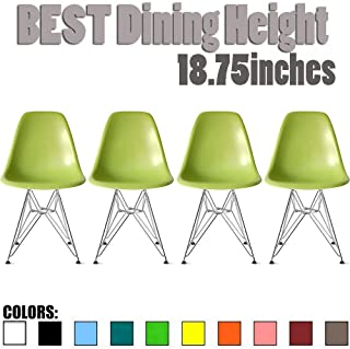 2xhome Set of Four (4) - Plastic Side Chair Chromed Wire Legs Eiffel Legs Dining Room Chair - Lounge Chair No Arm Arms Armless Less Chairs Seats Wire Leg, Green