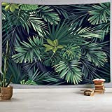 Uokiuki Palm Tree Leaf Tapestry, Tropic Banana Green Plant, Wall Art Hanging for Bedroom Living Room Dorm Wall Blankets Home Hippie Mandala Boho Decor (80X60)
