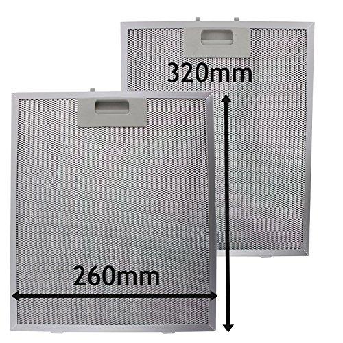 SPARES2GO Metalen gaasfilter voor IKEA afzuigkap/afzuigkap Ventilator Ventilator (Pak van 2 Filters, Zilver, 320 x 260 mm)