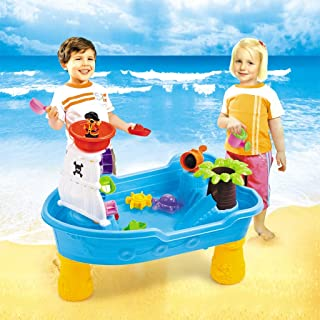 Airpow Sand Water Table Beach Toys - 20 Pcs Kids Outdoor Water Play Table Splash Pond Water Table - Large Pirate Ship for Toddlers Aged 2-4 (Sand Water Table, Shipped from USA)