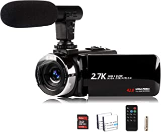 Video Camera Camcorder with Microphone, Vmotal 2.7K HD 42.0 MP 18X Digital Zoom 1080P IR Night Vision Vlogging YouTube Web...