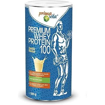 Primavita - Premium Whey Protein 100, integratore proteico con 97% proteine del siero del latte, basso contenuto di zuccheri e grassi, gusto vaniglia, 500 g, 20 porzioni